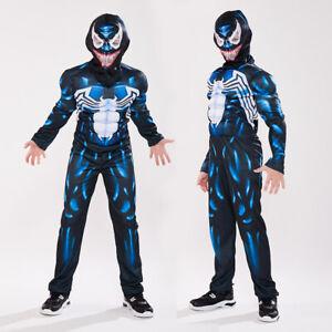 Boys Venom Superhero Cosplay Muscle Costume Kids Halloween Party  Fancy Dress Up