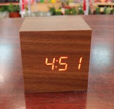 Classical Wood CUBE Red Digital LED Wooden Desk Alarm Clock Thermometer