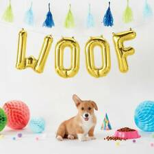 Pet Puppy Dog Birthday Party Supplies Gold 41cm Foil letters 'WOOF' Decorations