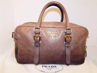 3417defb54cd Prada Bauletto Beige Black Gradient Leather Zippers Satchel Bag Italy
