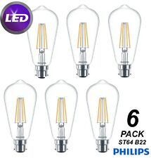 6 x Philips LED ST64 4W Vintage Filament Light Globes Bulbs B22 Bayonet Teardrop