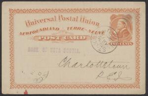 1896 Newfoundland #P4 2c UPU, Bank of Nova Scotia, Charlottetown Squared Circle