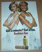 1978 print ad page -Coppertone Sudden Tan tanning SEXY blonde Girl suntan Plough