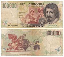 BANCONOTA Lire 100.000 CARAVAGGIO 2° TIPO DECRETO MINISTERIALE 18/12/1995