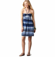 NWT Ann Taylor Loft Blue White Tie Dye Smocked Bandeau Neck Halter Dress $49 S-M