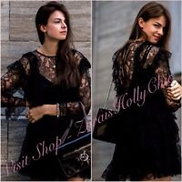 SALE Black Sheer Lace Long Sleeve Skater Dress Size S UK 8 US 4 Blogger ❤