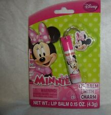 DISNEY**MINNIE**STRAWBERRY Flavored Lip Balm With CHARM~0.15 oz/4.3 g~NEW~SEALED