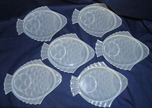 "6 VTG Frosted Pressed Glass 7"" Fish Shaped Snack Plates w/ spot for Dip Cup"