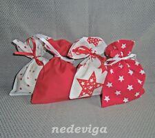 Adventskalender Stoff-Säckchen rot weiß 24 Beutel Sterne & Sternchen Handarbeit