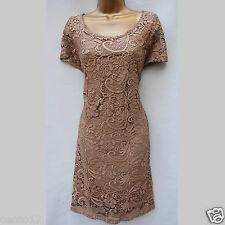 New Next Beige Gold Bronze Shimmer Floral Lace Shift Cocktail Dress 16 UK