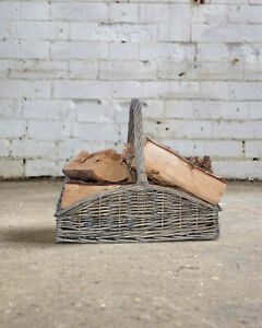 Shallow Style Grey Washed Fireside Log Basket Accessories Wicker Flower Basket