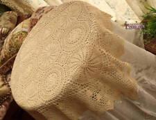 "Rustic CHIC~Vtg Tablecloth Topper HAND Crochet Snowfake Heart Ecru Bridal Sq 33"""