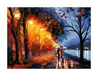 Couple Walking in Park in the Rain DIGITAL Counted Cross-Stitch Pattern Chart