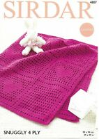 Sirdar Crochet Pattern 4807, Blanket with Hearts, in Snuggly 4 Ply Yarn, New