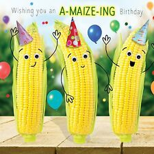 Birthday Card A-Maize-Ing Sweetcorn Funny Joke Pun Goggly 3D Moving Eyes