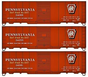 Accurail HO 8128 PRR 40 'Riveted Steel Boxcars 3 pack set # 24083,24381, 24255