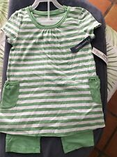 Nwt Faded Glory Girls Swing Top & Legging Outfit Set Size 6 Green Cotton