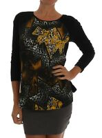 NEW $340 VERSACE JEANS VJ Sweater Pullover Black Stretch Print s. IT40 / US4 / S