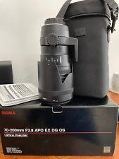 SIGMA EX 70-200mm F2.8 APO DG HSM OS Lens, PENTAX, with case and hoods.RARE lens