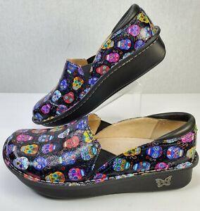 Alegria PG Lite Debra Nursing Comfort Shoes Sugar Skulls Black Size 39 EU 9 US