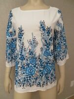 Karen Kane Women's Size M Top Blouse Tunic Embroidered Bell Sleeve White Blue
