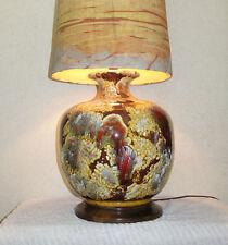 1960s Danish Fat Table Lamp Foaming Volcanic Glaze UNIQUE Batik Shade