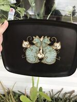 RARE Couroc Calif. Blk Serving Tray 2 Siamese Cats Turquoise Mid Century Modern