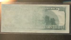 1996 100.00  HUNDRED  Dollar FEDERAL RESERVE ERROR rare NO BACK ONLY HALF