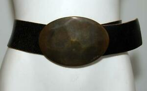 DIESEL Italian Black Distressed Leather with Large Brass Oval Buckle Size 80cm