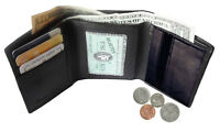 BLACK MEN'S GENUINE LEATHER ID WINDOW TRIFOLD WALLET ZIP COIN U.S Seller
