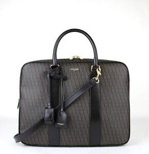$1450 Saint Laurent Men Brown Monogram Briefcase Travel Shoulder Bag 343700 1059