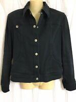 Laurel Jeans by Escada Sz 38 black jean jacket snap closure Great condition