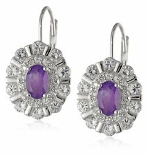 Sterling Silver African Amethyst Created White Sapphire  Lever Back Earrings
