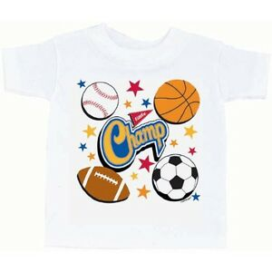 Little Champs All Star Sports Athlete Kids Birthday Party Favor Tee T-Shirt