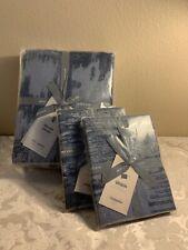 West Elm Tencel / Cotton Ikat Matelasse Blue Full/Queen Duvet Cover & Shams Nwt