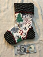 """Top Quality Hand Crafted Quilted Christmas Stocking Silk Lined 14""""x10"""""""