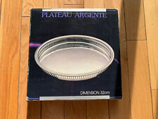Vintage 1986 Silver plate etched SERVING TRAY 12.6 Inches New In Original Box