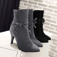 Faux Suede padded collar Round Toe Lace Up Hidden Wedge Heels Ankle Boots H156
