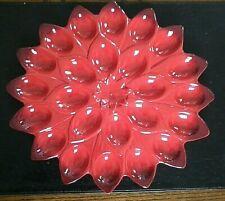 Easter Grassland Road Red Poinsettia Deviled Egg Platter - 12in for 24 Half Eggs