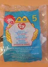 Ty Rocket the Bluejay McDonalds Teenie Beanie Baby, New in Package!