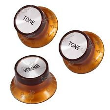 A Set 3 Pcs Brown 1 Volume & 2 Tone Speed Control Knobs for Electric Guitar