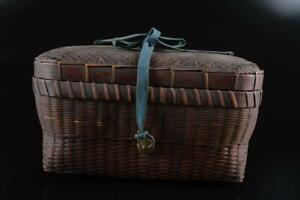 #5097: XF Japanese Old Wooden Wickerwork/Ajiro-shaped TEA CEREMONY BOX Chabako