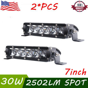 2X 7inch 30W Single Row LED Light Bar Slim 3D Optical SUV Offroad ATV Boat Truck