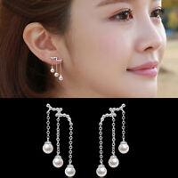 Women Silver Plated Pearl Earrings Long Tassel Hook Dangle Ear stud Earrings TOP