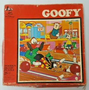 Disney Vintage Wooden Jigsaw Puzzle No. 49, GOOFY GOES BOWLING 25 Pieces Age 4-8