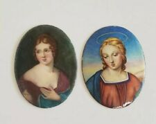 """over Copper Cameo Small Portrait 2.5"""" Antique Set of 2 French Victorian Enamel"""