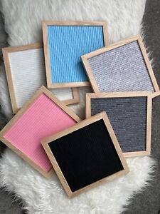 Felt Letter Board Wooden Message Board 25x25cm Oak Frame Assortd Colours Vintage