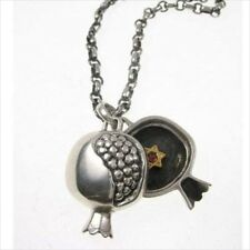Large Pomegranate with Hidden Star Of David Necklace Sterling Silver Vermeil by