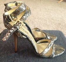 NWOT Guess Gold Snake Embossed Strappy heels Size 5.5 Medium U.S. Women's