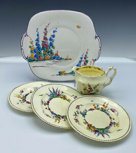 Crown Staffordshire Hollyhock Lot Vintage Hand Painted Floral Cake Plate Creamer
